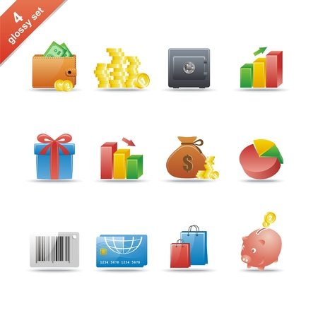 Set of 12 glossy web icons Part 4 (see other in my portfolio) Stock Vector - 5696721