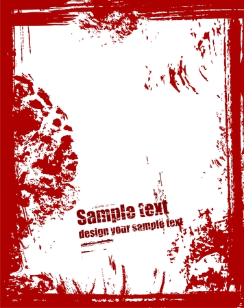 Grunge frame in red color Vector