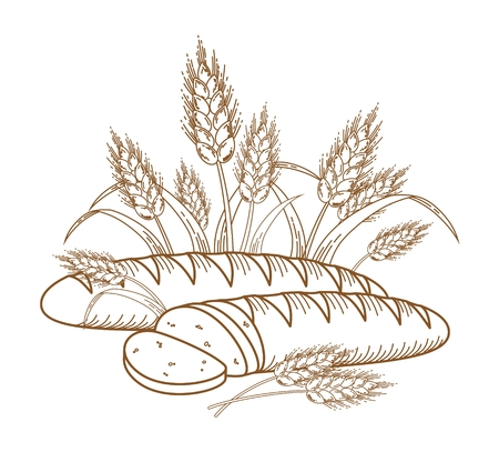 bread: Illustration of ripe ears and bread for your designs.