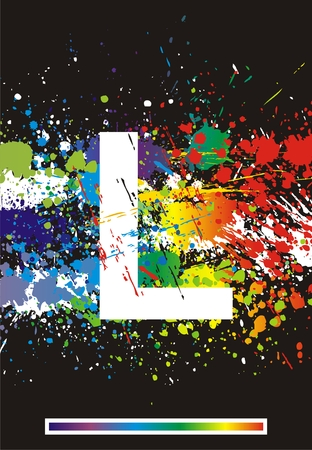 Color paint splashes font. Vector