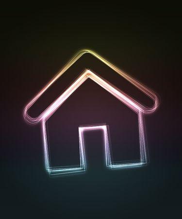 shin: House. Shiny house on black background. Stock Photo