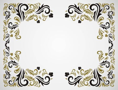 western background: Seamless floral pattern with frame in gray and gold color.