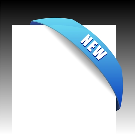 New blue corner business ribbon on white background. Vector