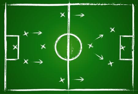 kollegen: Abbildung Fu�ballspiel. Teamwork Strategie. Vektor-Hintergrund.