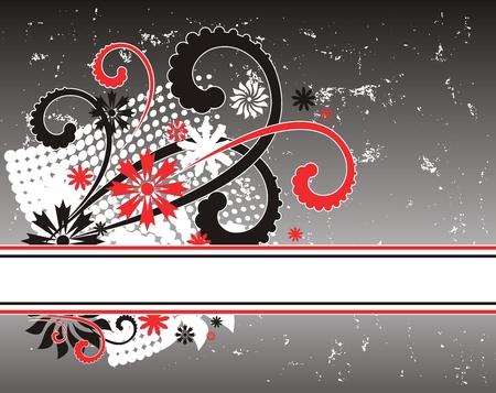 Illustration of grunge floral design background. Vector