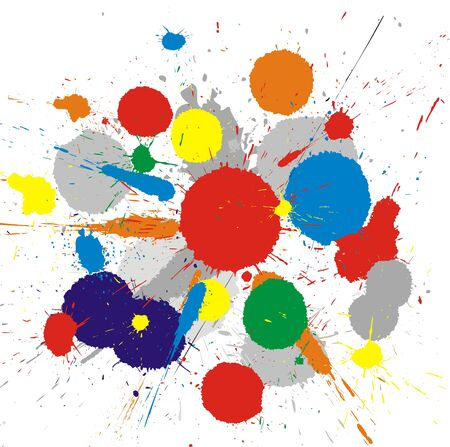 colors paint: Illustration of color paint splashes on white background