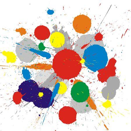 splash color: Illustrazione di colore vernice schizza su sfondo bianco  Vettoriali