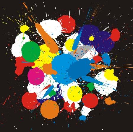 splotches: Illustration of color paint splashes on black background.