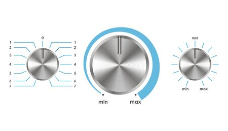 volume knob: Vector illustration of silver volume balance knobs.