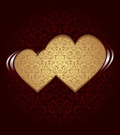 encantador: Dois corações no fundo escuro e textura do damasco.