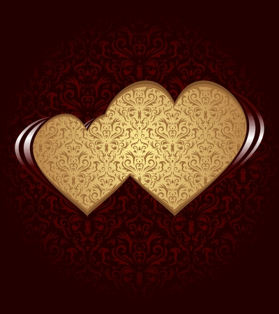 happiness concept: Two hearts on dark background and damask texture.