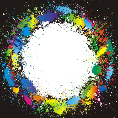 Illustration of color paint splashes on black background and with place for your text Stock Vector - 5770443