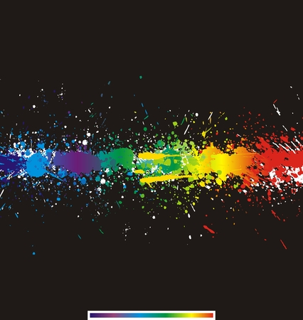 Illustration of line color paint splashes on black background. Vector