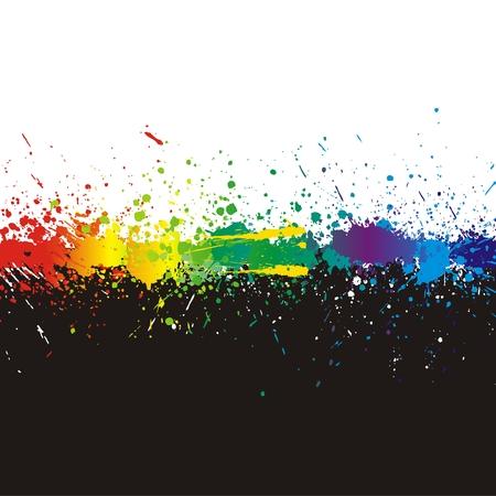 ink splat: Ilustraci�n de la pintura de color de l�nea protecci�n sobre fondo negro. Vectores
