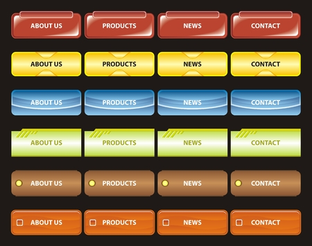 Various vector illustration of website menu in different colors. Vector
