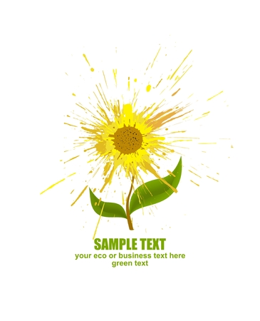 Sunflower against white background. Concept of the abstract splash flower. Vector