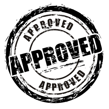 approved icon: Abstract black grunge stamp named approved. Illustration