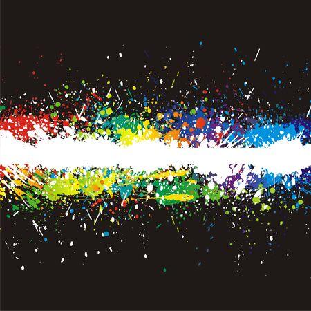 Illustration of line color paint splashes on black background. Stock Vector - 5838955