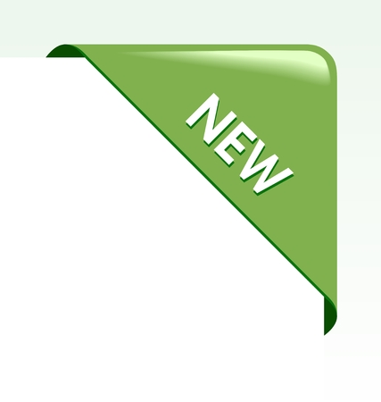introduce:  New green corner business ribbon on white background. Illustration