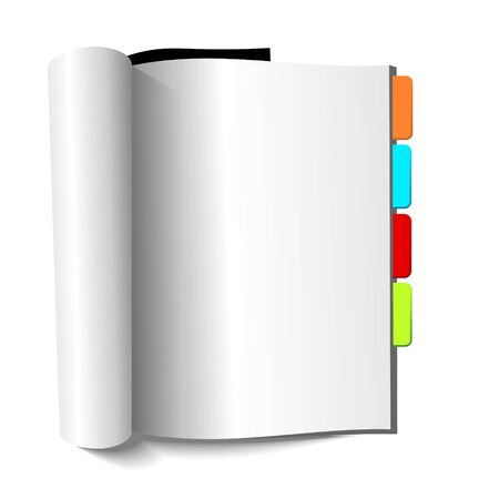 content page: Blank magazine with book-marks on white background. Illustration