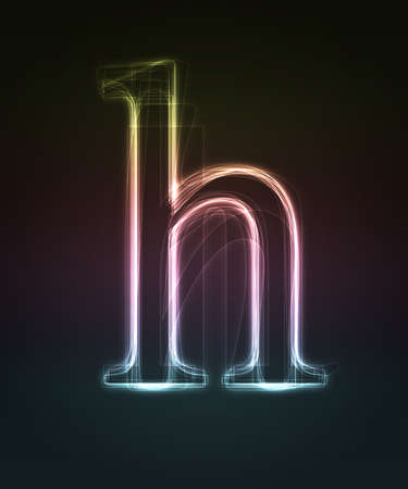 shin: Glowing neon  small font. Shiny letter h