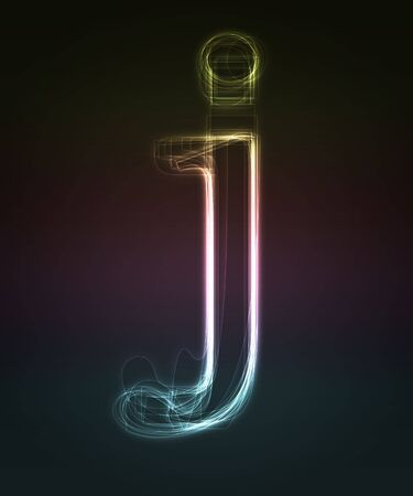 Glowing neon  smal font. Shiny letter j (caps letter in my portfolio). Stock Photo - 5906586