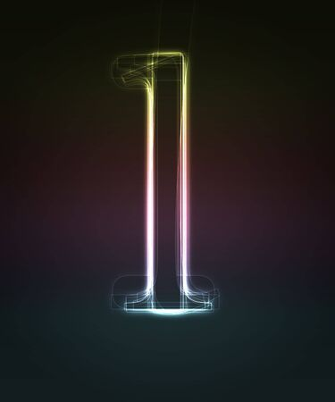 alphanumeric: Glowing neon small font. Shiny letter l