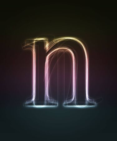 letter n: Glowing neon small font. Shiny letter n Stock Photo