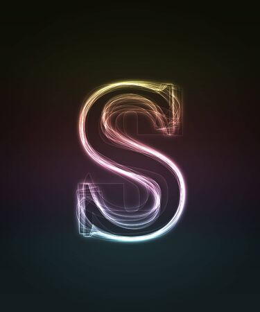 Glowing neon small font. Shiny letter s photo
