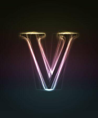 shin: Glowing neon small font. Shiny letter v (caps letter in my portfolio).