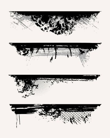 Set of grunge edges. Vector illustration in black color. Stock Vector - 5931435