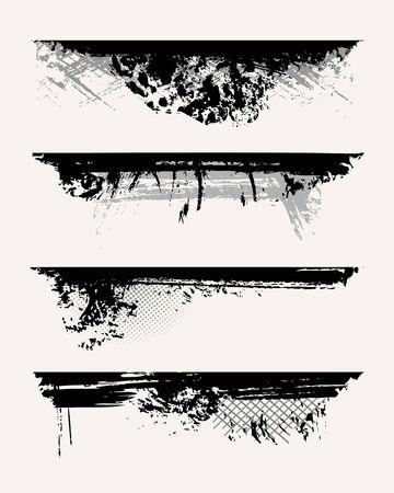 grunge vector: Set of grunge edges. Vector illustration in black color.