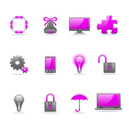 Set of 12 glossy web icons Part 3 (see other in my portfolio) Stock Vector - 5987567