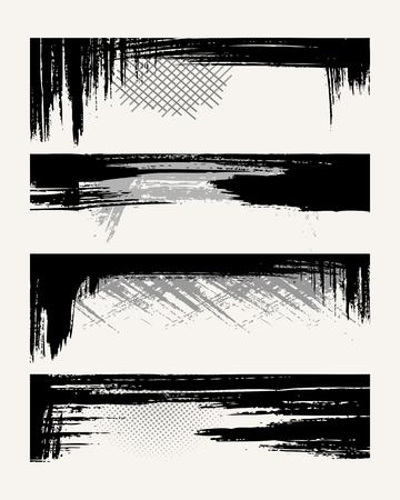 Set of grunge edges. Vector illustration in black color. Stock Vector - 5987564