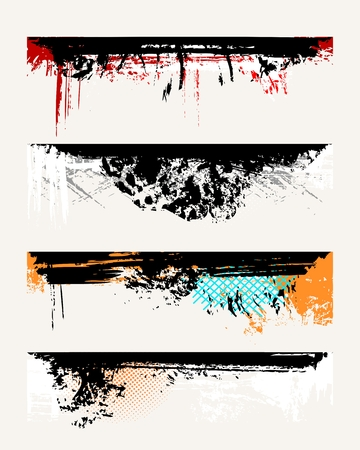 Set of grunge edges. Vector illustration in different color. Stock Vector - 5987566