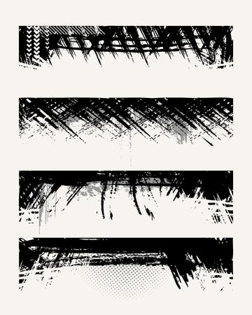 Set of grunge edges. Vector illustration in black color. Vector