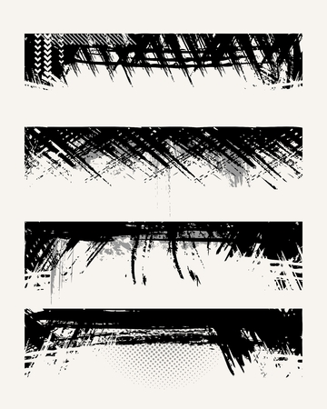 Set of grunge edges. Vector illustration in black color. Vector