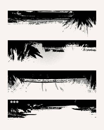 Set of grunge edges. Vector illustration in black color. Stock Vector - 6041727