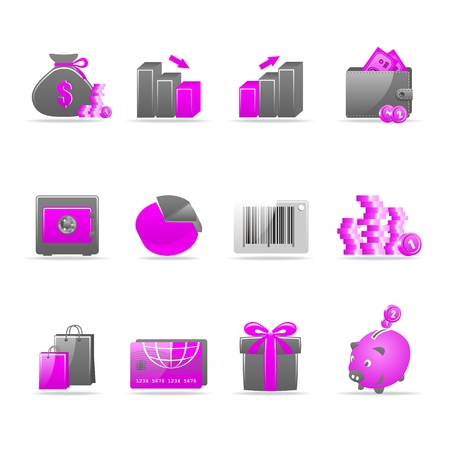 Set of 12 glossy web icons Part 4 (see other in my portfolio) Stock Vector - 6114381