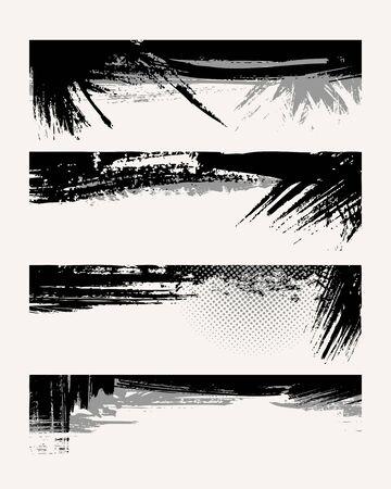 Set of grunge edges. Vector illustration in black color. Stock Vector - 6114382