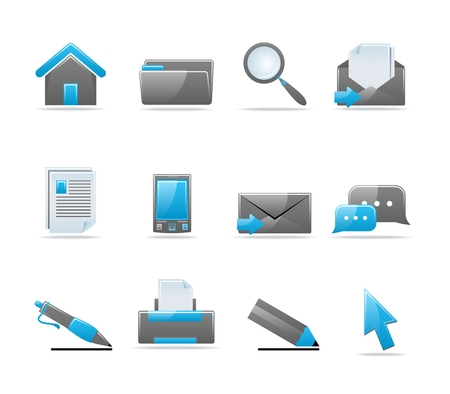 Set of 12 glossy web icons. Shopping, business and money icon set. Part 3. (see other in my portfolio) Stock Vector - 6226772