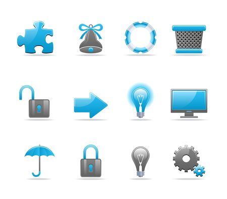Set of 12 glossy web icons. Shopping, business and tachnology icon set. Part 3 (see other in my portfolio) Stock Vector - 6226780