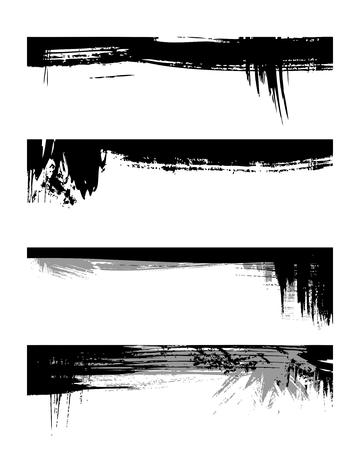 Set of grunge edges. illustration in black color. Stock Vector - 6226792