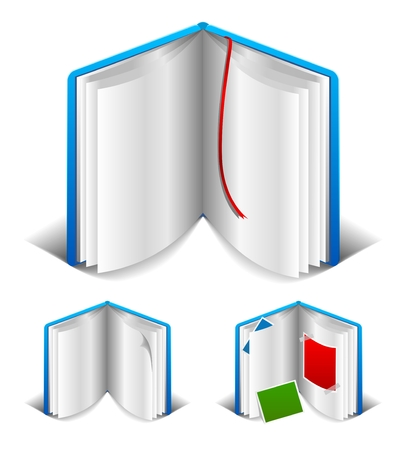 Blank open book with white page. Bookmarks. Photo album. Stock Vector - 6255611