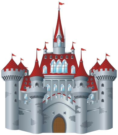 Castillo de cuento de hadas sobre fondo blanco. Ilustración de vector