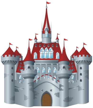 castillo medieval: Castillo de cuento de hadas sobre fondo blanco.