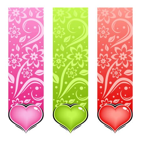 Glossy heart. love card. Illustration in various color. Vector