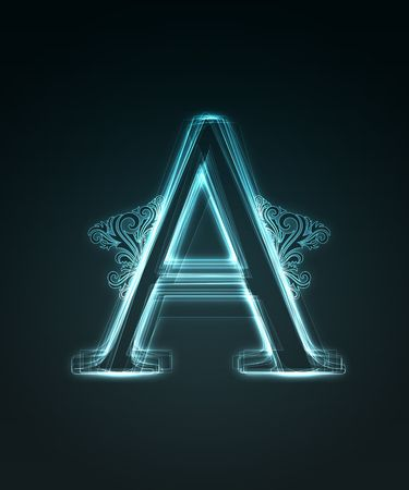 Glowing neon letter with floral decoration on black background. Stock Photo - 6477502