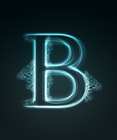 Glowing neon letter with floral decoration on black background. Stock Photo - 6477510