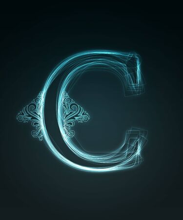 Glowing neon letter with floral decoration on black background. Stock Photo - 6477501